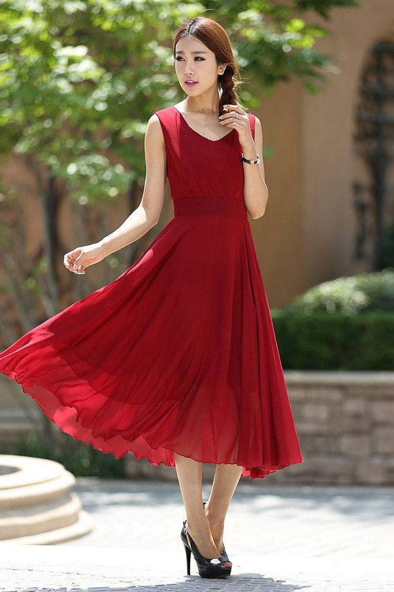 chiffon dress custom dress summer dress ladies dresses Gift  1005# cocktail Dress long dresses for women Red dress maxi dress boho