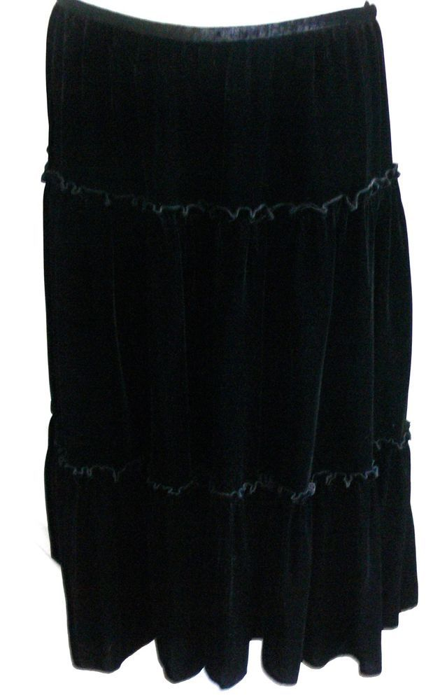 Fresh Twist Tiered Ruffle Velvet Black Skirt Size 12 Silk Rayon Blend #FreshTwist #Tiered