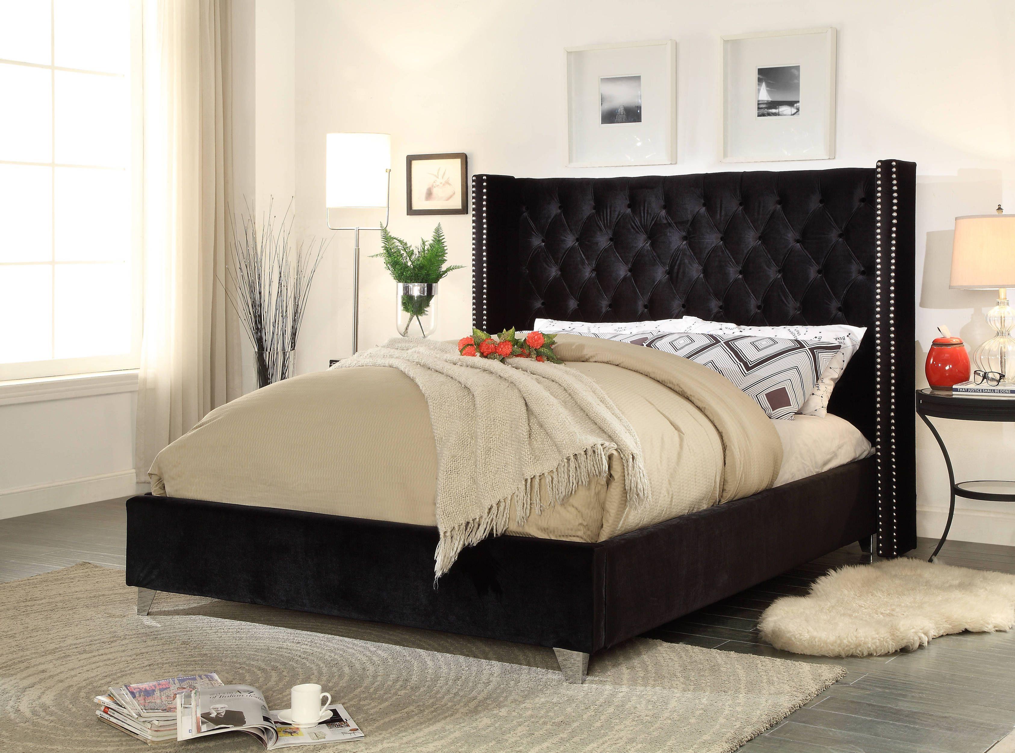 Aiden Black Velvet Deep Detailed Tufting Chrome Nailheads Queen Bed White Bedroom Decor Black Velvet Bed Velvet Bed