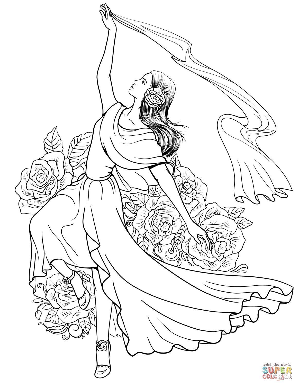 spanish woman dancing flamenco  super coloring  coloring