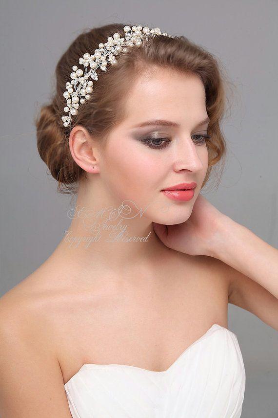 bridal hair accessories wedding headband rhinestone swarovski pearls hair bands bridal head band bridal hair pieces