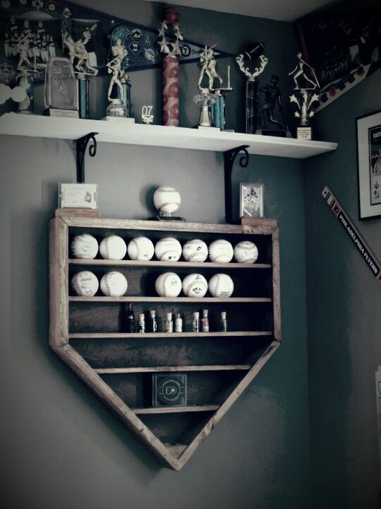 Baseball Shelf In The Shape Of Home Plate Looks Great My Sons Bedroom