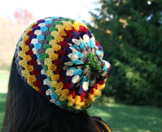 Striped Crochet Slouch Hat Rainbow Granny Stripe Crotched -3940