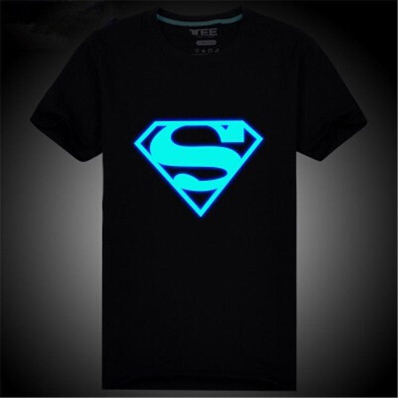 BLACK funny GLOW IN DARK T-shirt  BATMAN LOGO SUPERMAN SUPER HERO