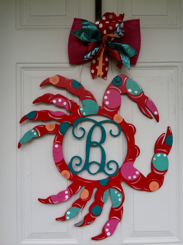 Decorative door hangers craft - Crab Door Hanger Summer Door Hanger Monogramed Crab Door Hanger Custom Door Hanger