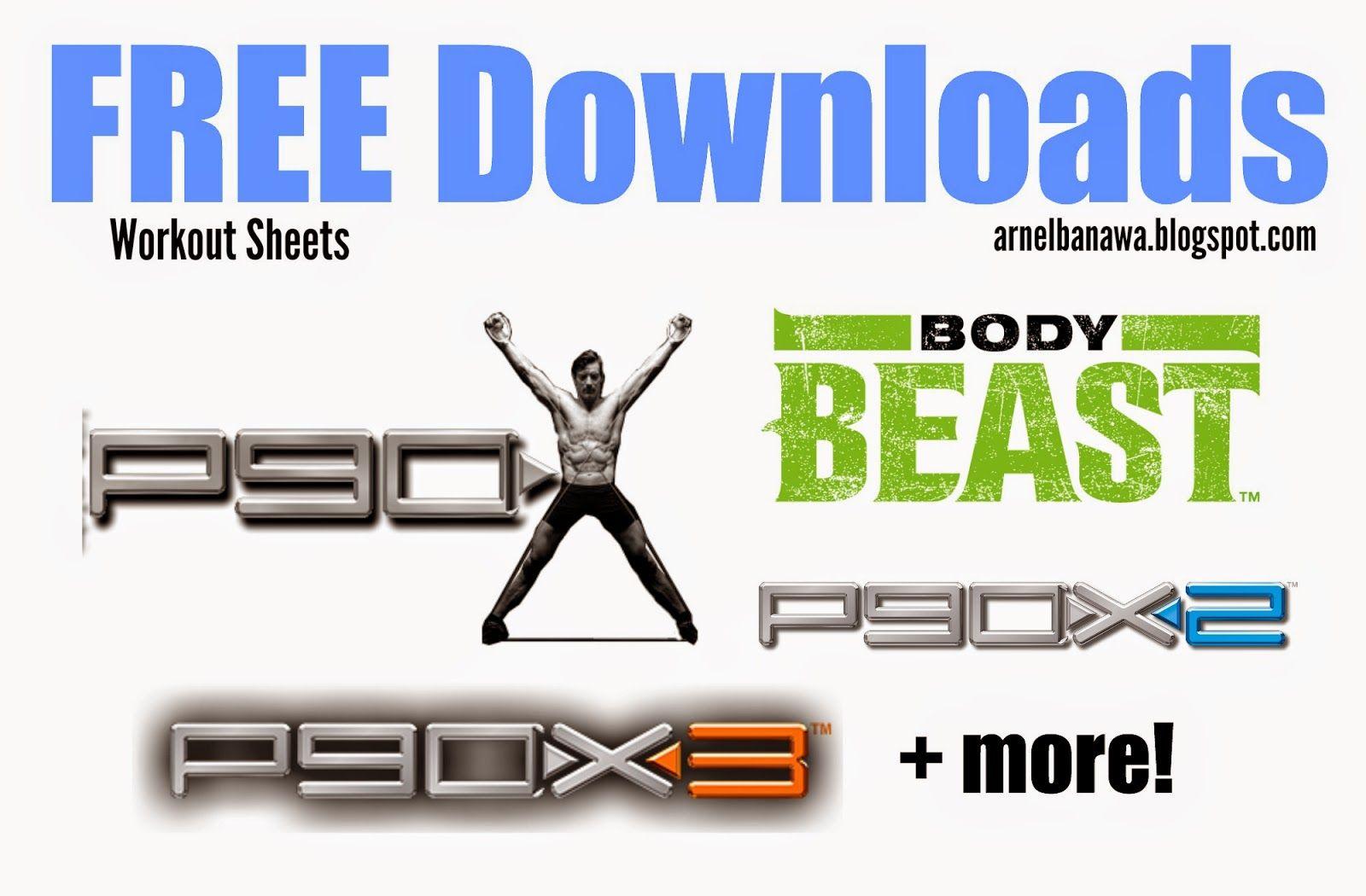 Free P90x Body Beast Workout Sheets