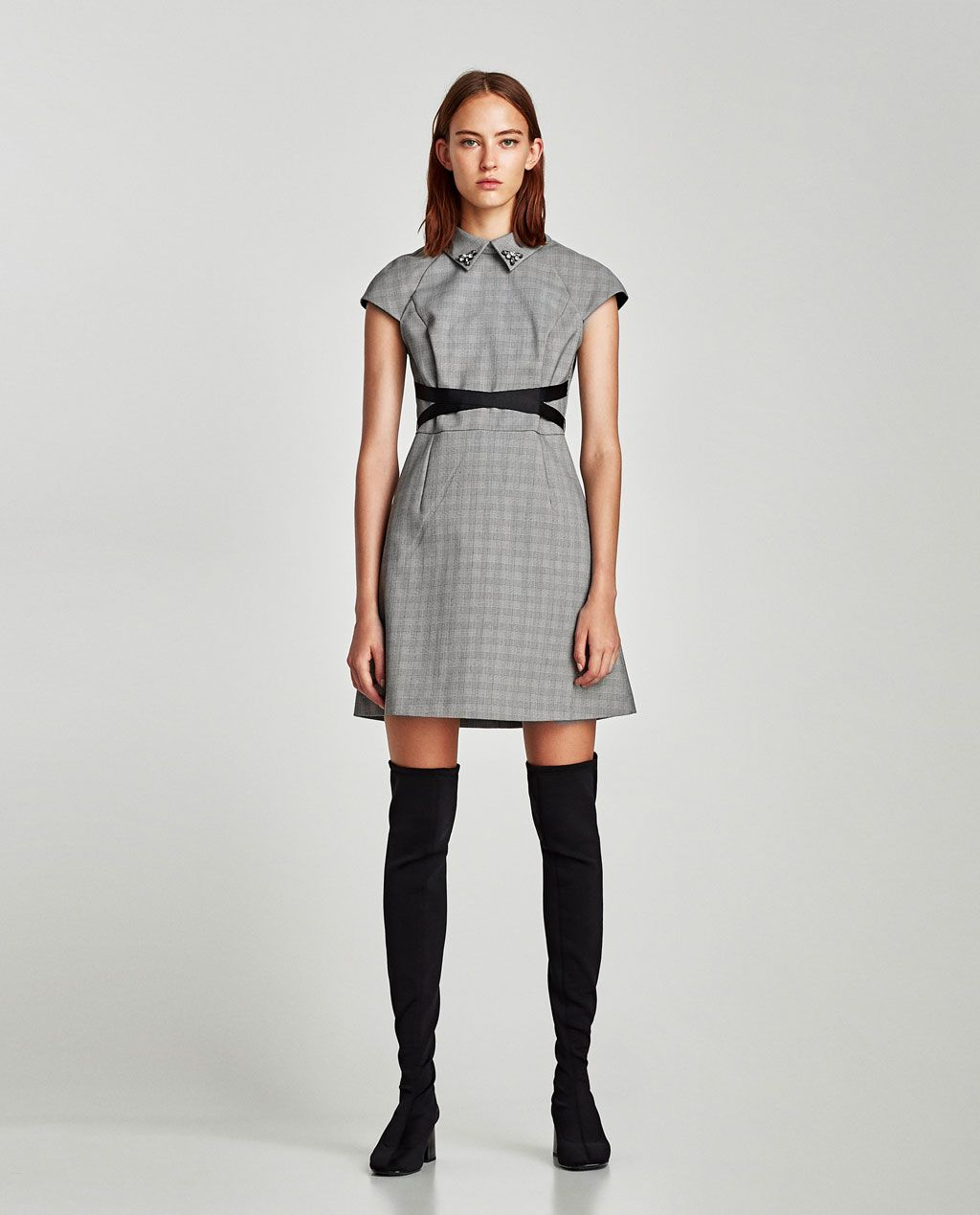 f90cd688 CHECKED DRESS WITH CONTRASTING BELT-View all-DRESSES-WOMAN   ZARA United  States