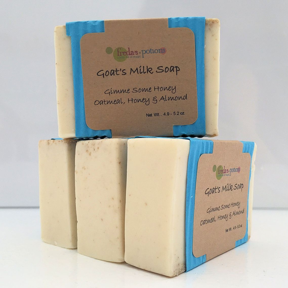 Gimme Some Honey Goat's Milk Soap uses our base soap with an addition of ground oatmeal and honey. The soap is very soothing for the skin.