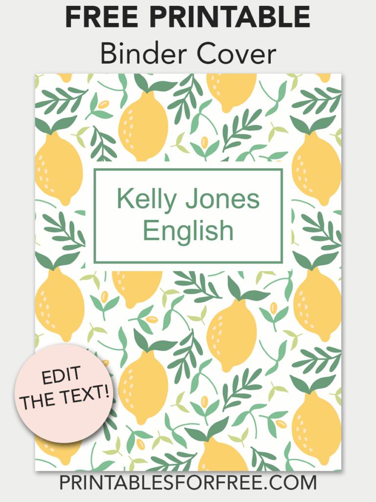 lemons printable binder cover free binder covers templates