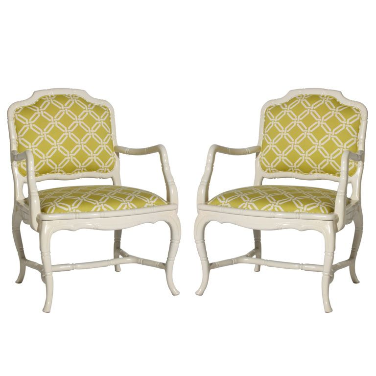 Pair of faux bamboo chairs, c. 1960 | From a unique collection of antique and modern armchairs at https://www.1stdibs.com/furniture/seating/armchairs/