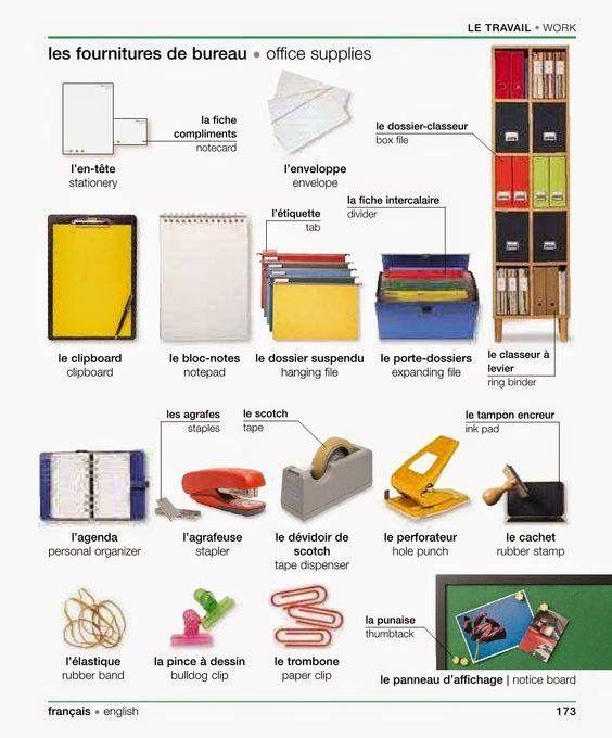 vocabulaire le travail les fournitures de bureau vocabulary work office supplies. Black Bedroom Furniture Sets. Home Design Ideas