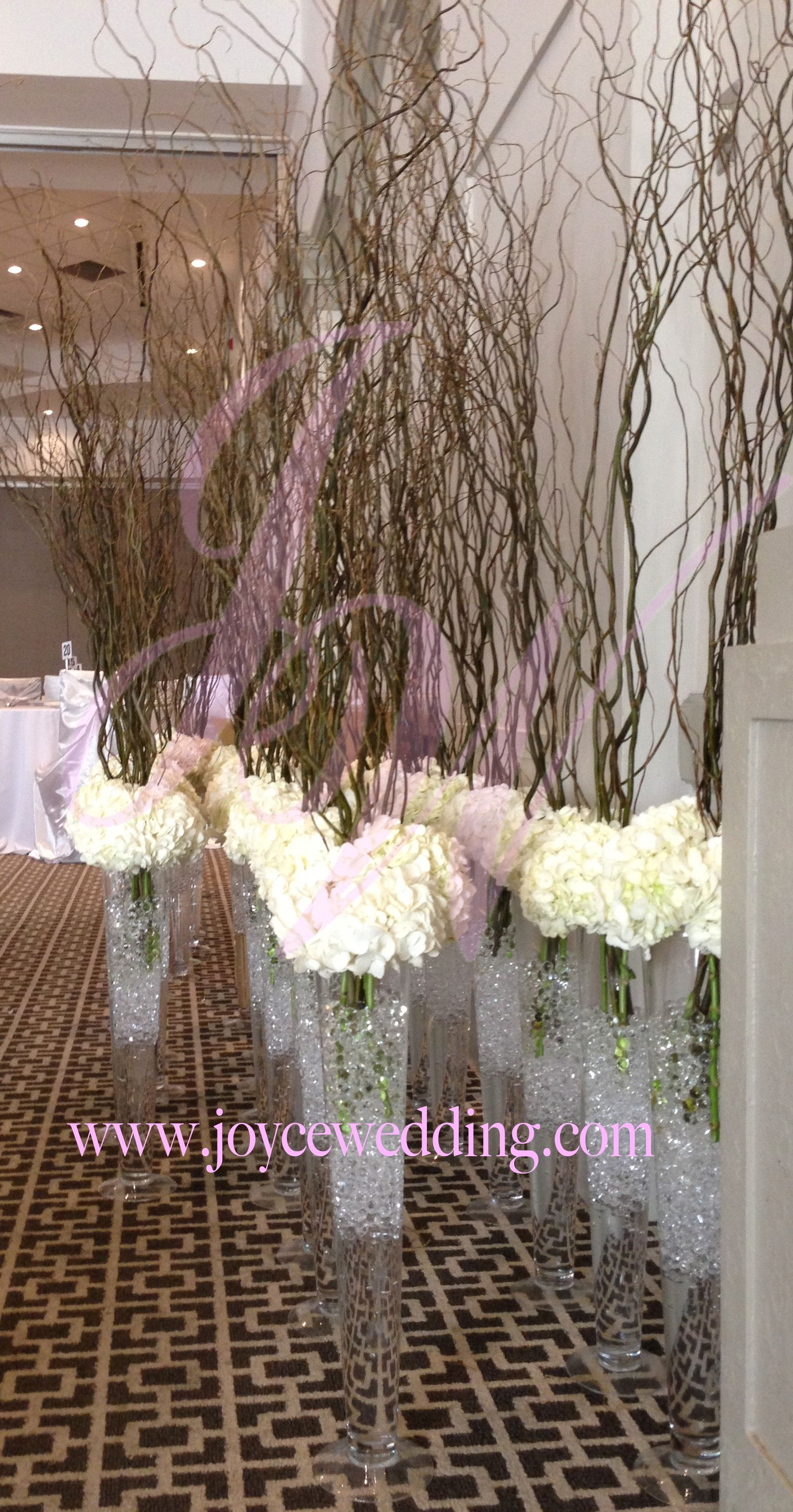 Tall hydrangeas centerpieces with branches for for Tall wedding centerpieces with branches