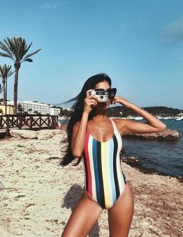 Women's Rainbow Stripes One Piece Swimsuit
