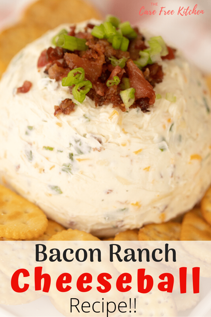This Bacon Ranch Cheese Ball is a quick and easy appetizer recipe made with cream cheese. It's a