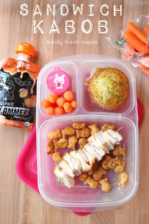 Week 20 fun lunchbox ideas - sandwich kabob packed in an @EasyLunchboxes container.