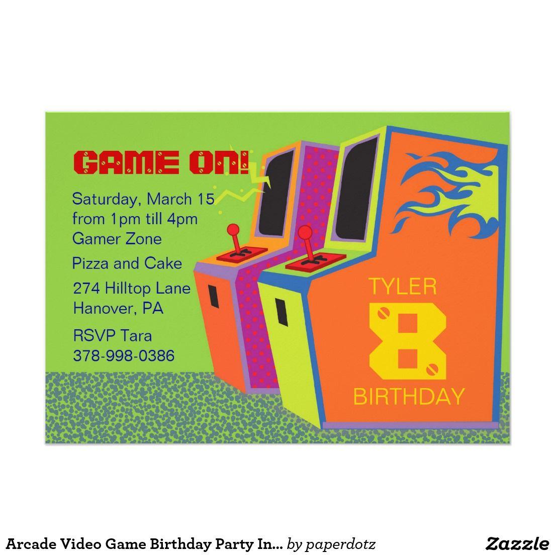 Arcade Video Game Birthday Party Invitations Invite Party
