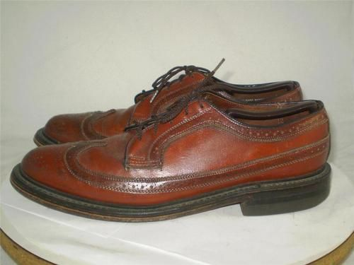 2233b884a82f VINTAGE JC PENNEY LONGWING OXFORD BROGUES Wingtip Brown Leather 9.5 D