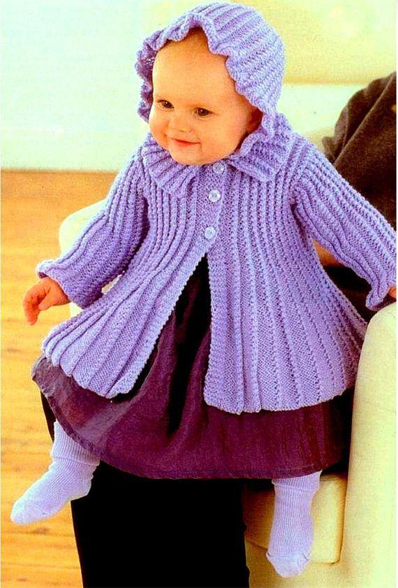 79b007256 Baby Girls PURPLE Pram Set Knitting Pattern Matinee Bonnet