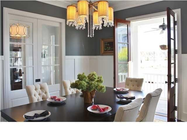 Dining Rooms   French Doors Gray Walls Board And Batten Walls Espresso  Stained Dining Table Ivory Tufted Chairs Nailhead Trim Crystal Chandelier