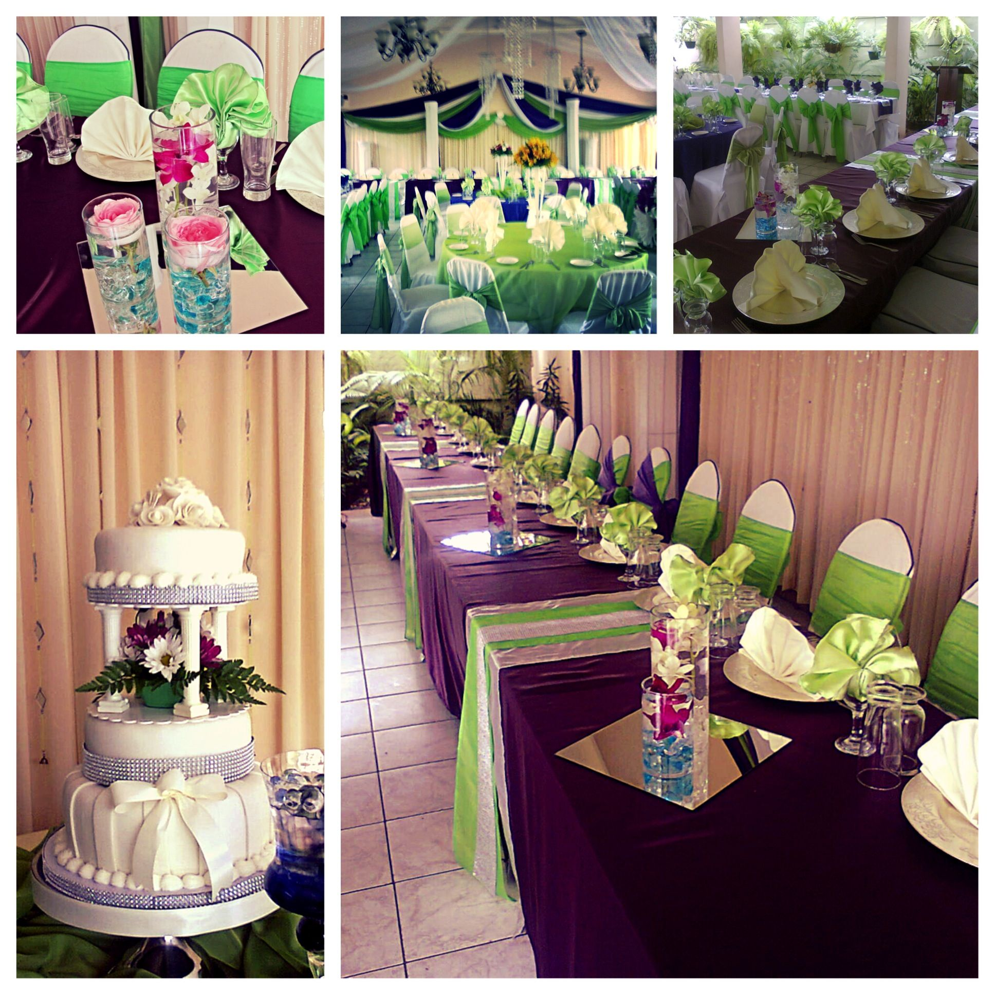 Plum And Apple Green Wedding Reception