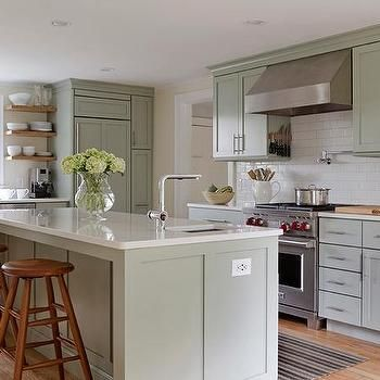 sage green kitchen features sage green cabinets paired. Black Bedroom Furniture Sets. Home Design Ideas