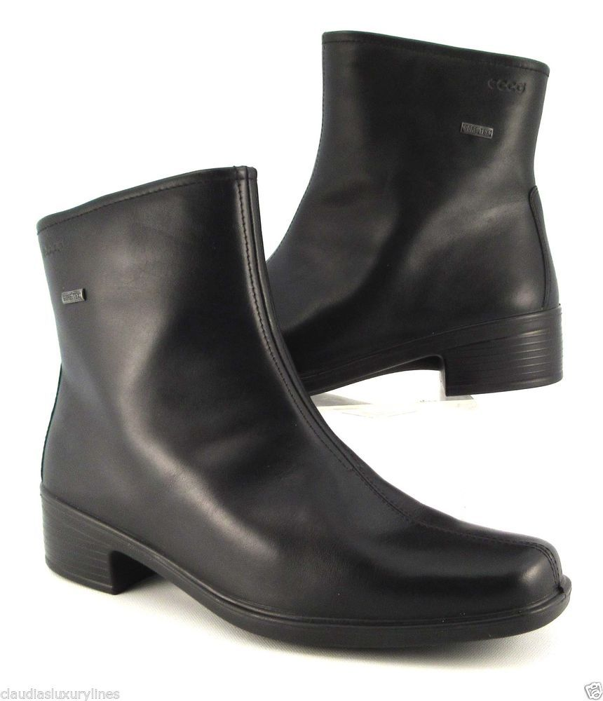 ECCO Black Leather Gore-Tex Ankle Boots US 10-10.5, EU 41 #