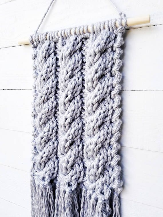 Chunky Knit Wall Hanging, Gray with Silver Yarn Tapestry, Boho ...