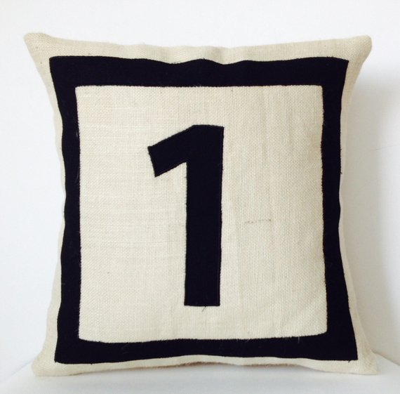 Black Monogram Pillow Personalized Throw Burlap Pillows With Initials Initial Numb