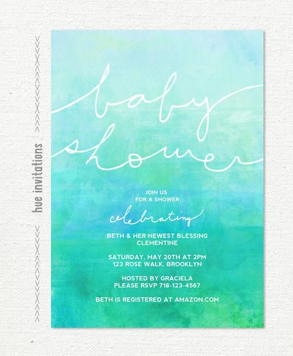 ombre watercolor baby shower invitation, turquoise blue green dip