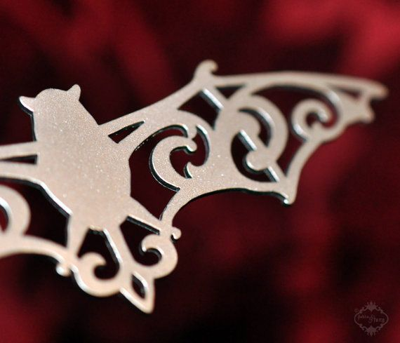 Ornate Bat statement necklace in silver stainless by FableAndFury, $29.00