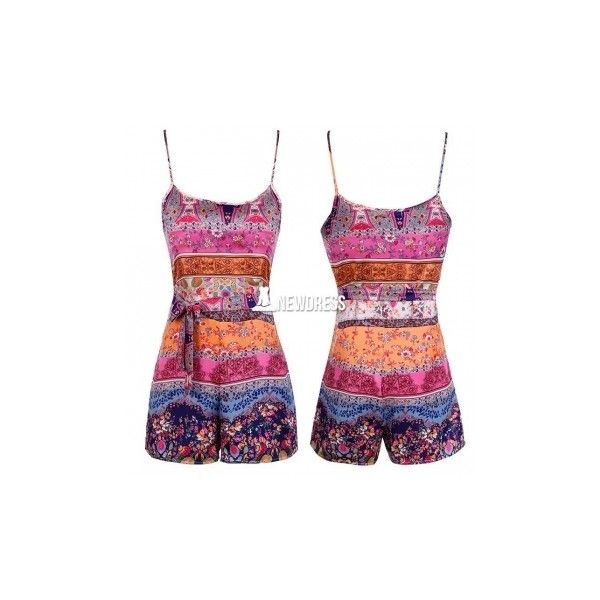 Sexy Lady Women Spaghetti Strap Jumpsuit Summer Floral Loose Short... ($11) ❤ liked on Polyvore