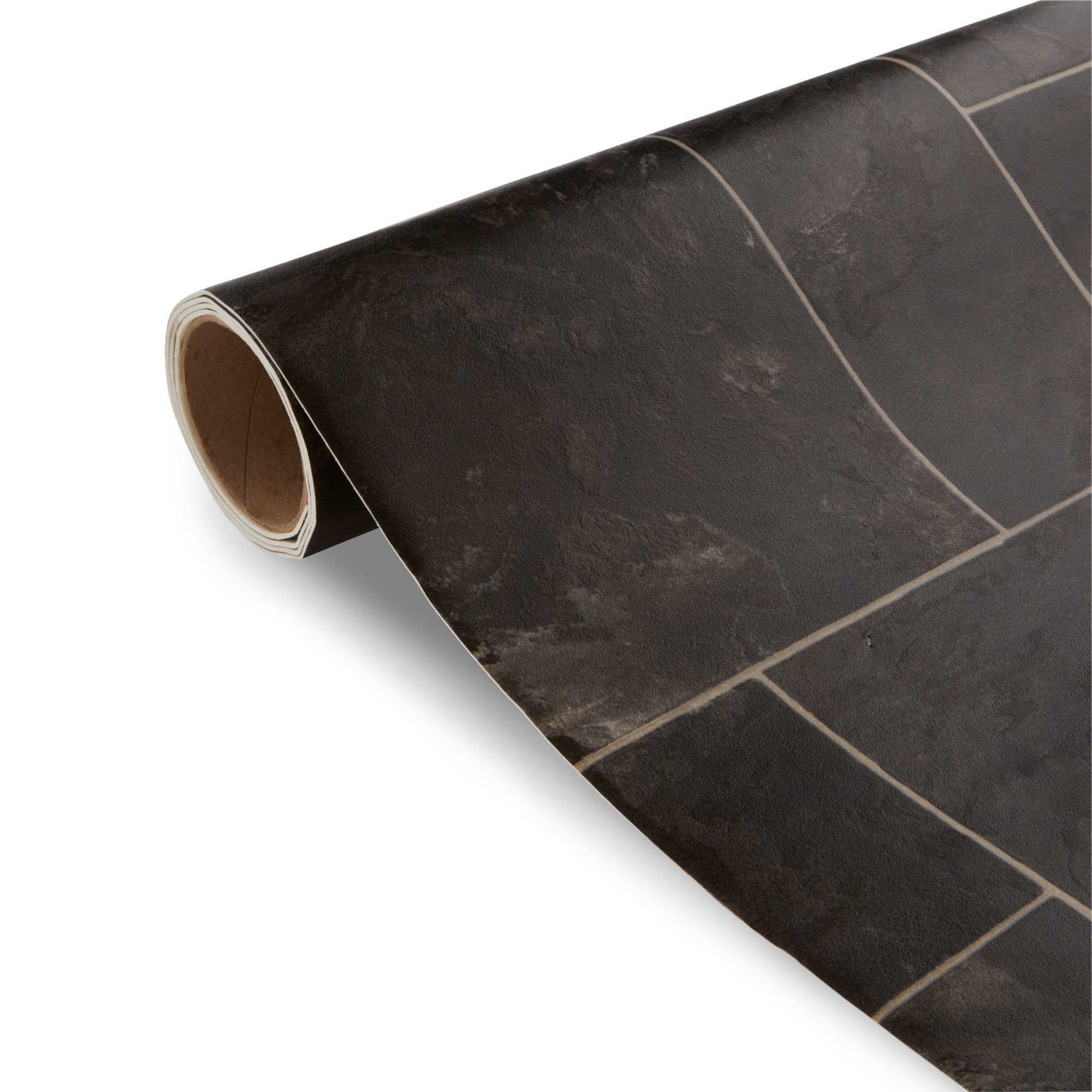 Octavina Black Tile Effect Vinyl 4 m | Black tiles ...