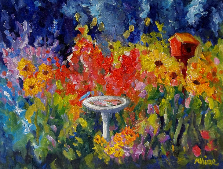 Landscape original impasto oil painting garden sunflower painting art original painting by MonaVivarFineArt on Etsy