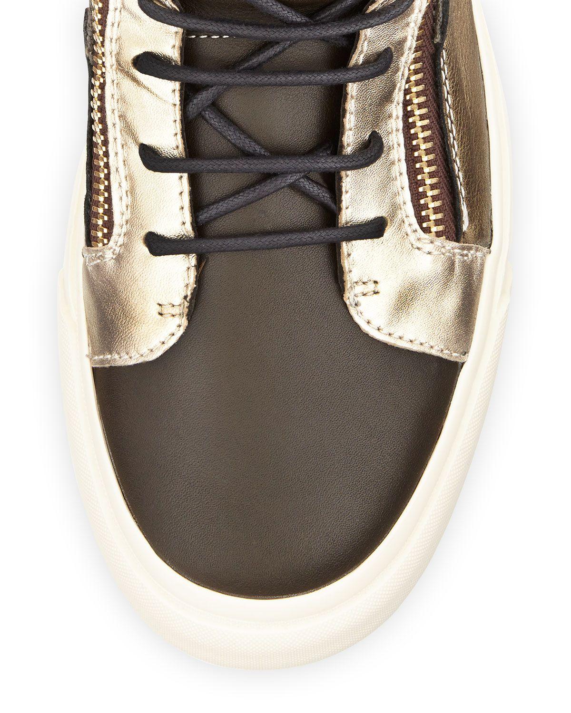 Men's Metallic Stud Double Zip High-Top Sneaker