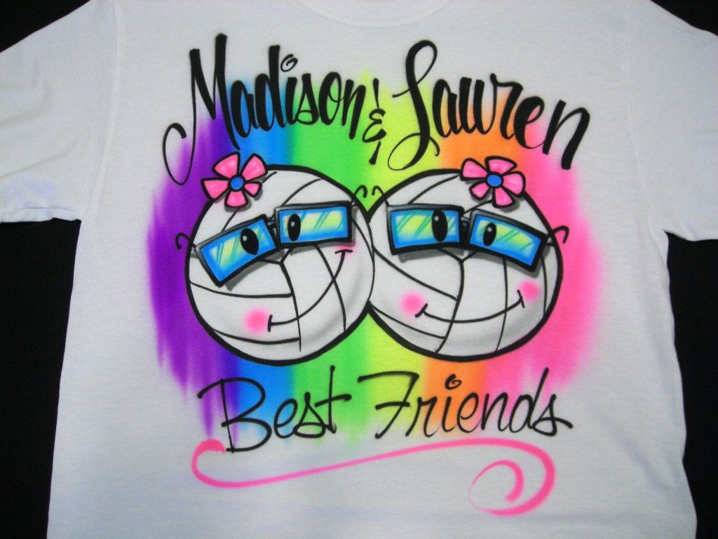 c30f8b3be610 Smiley Volleyball BFFs w/ Name Airbrush by airbrushingbytaylor, $18.99