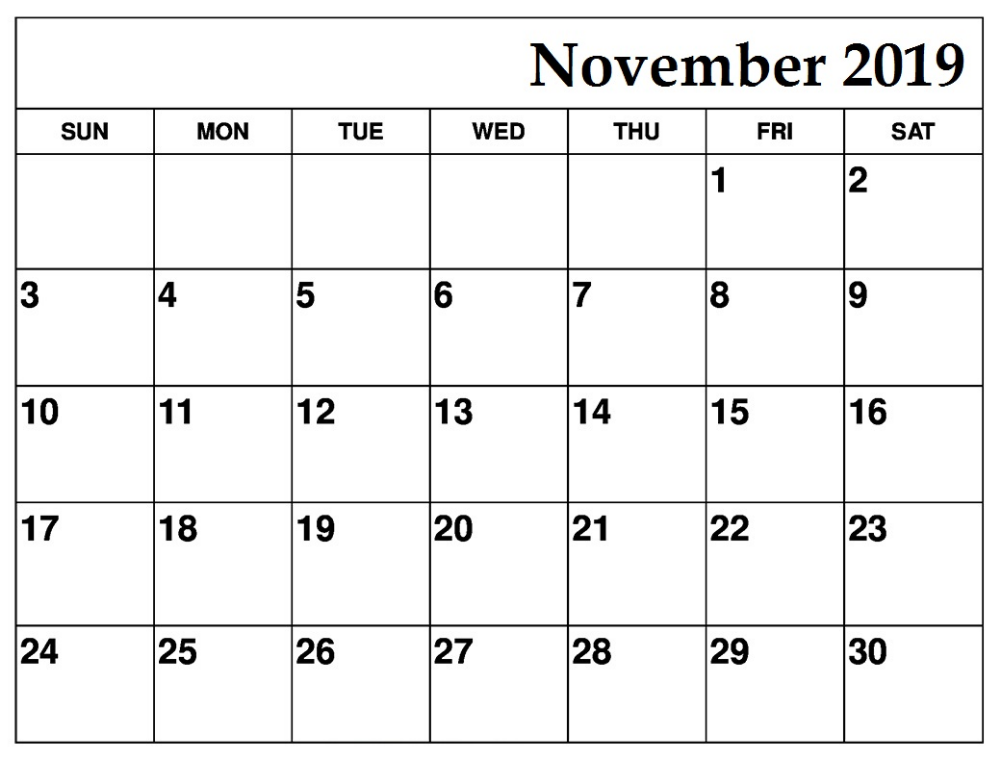 Free Printable November 2019 Calendar Downloadable Calendar Printables Printable Calendar Template Free Printable Calendar