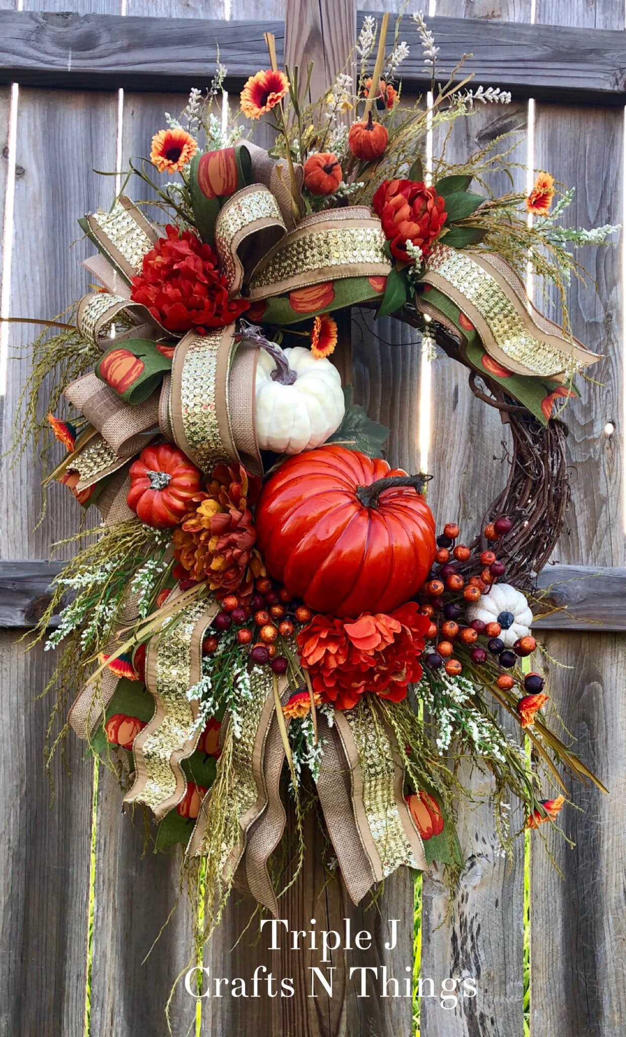 Photo of Deluxe Fall Wreath, Fall Wreath for Front Door, Fall Swag, Large Fall Wreath, Beautiful Fall Decor