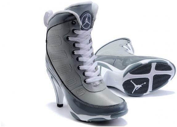 Womens Air Jordan 9 High Heels Grey