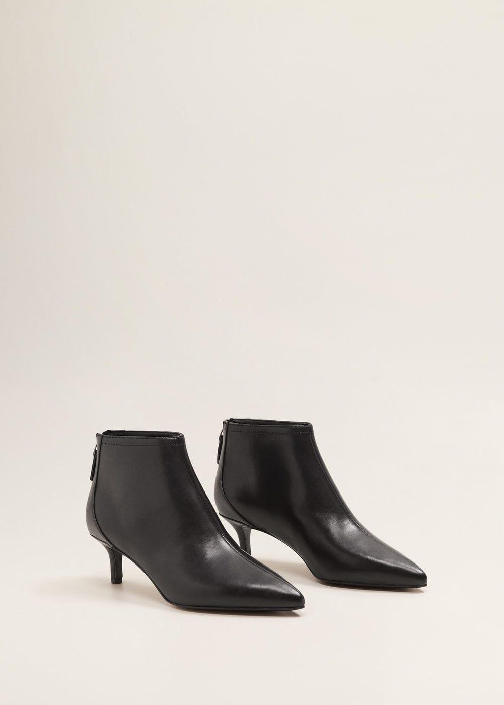 Midi Heel Leather Ankle Boot Women Mango United Kingdom Boots Kitten Heel Boots Leather Ankle Boots