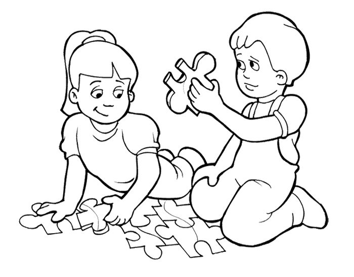 Kids Playing Games Puzzle Coloring Page For Kids School Coloring Pages Coloring Pages Kids Playing