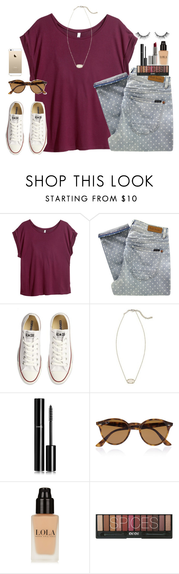 """""""No school for me tomorrow!!!"""" by madison426 ❤ liked on Polyvore featuring H&M, Paul by Paul Smith, Converse, Kendra Scott, Chanel, Ray-Ban, FingerPrint Jewellry, women's clothing, women's fashion and women"""