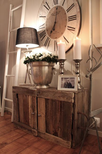 This Is Fabulous The Rustic Cabinet And The Huge Clock Love It