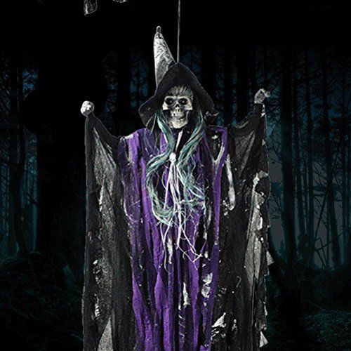 Halloween Props Animated Skeleton Hanging Witch Ghost Voice