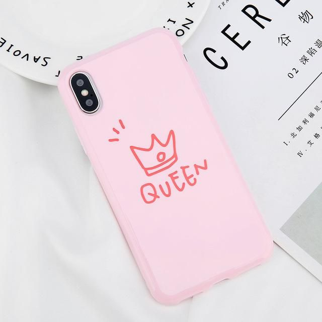 a086949caf Cute Glossy Crown Phone Case For iPhone 6 6s Plus Letter KING QUEEN Back  Cover Soft TPU Cases For iPhone X 8 7 6S Plus Coque
