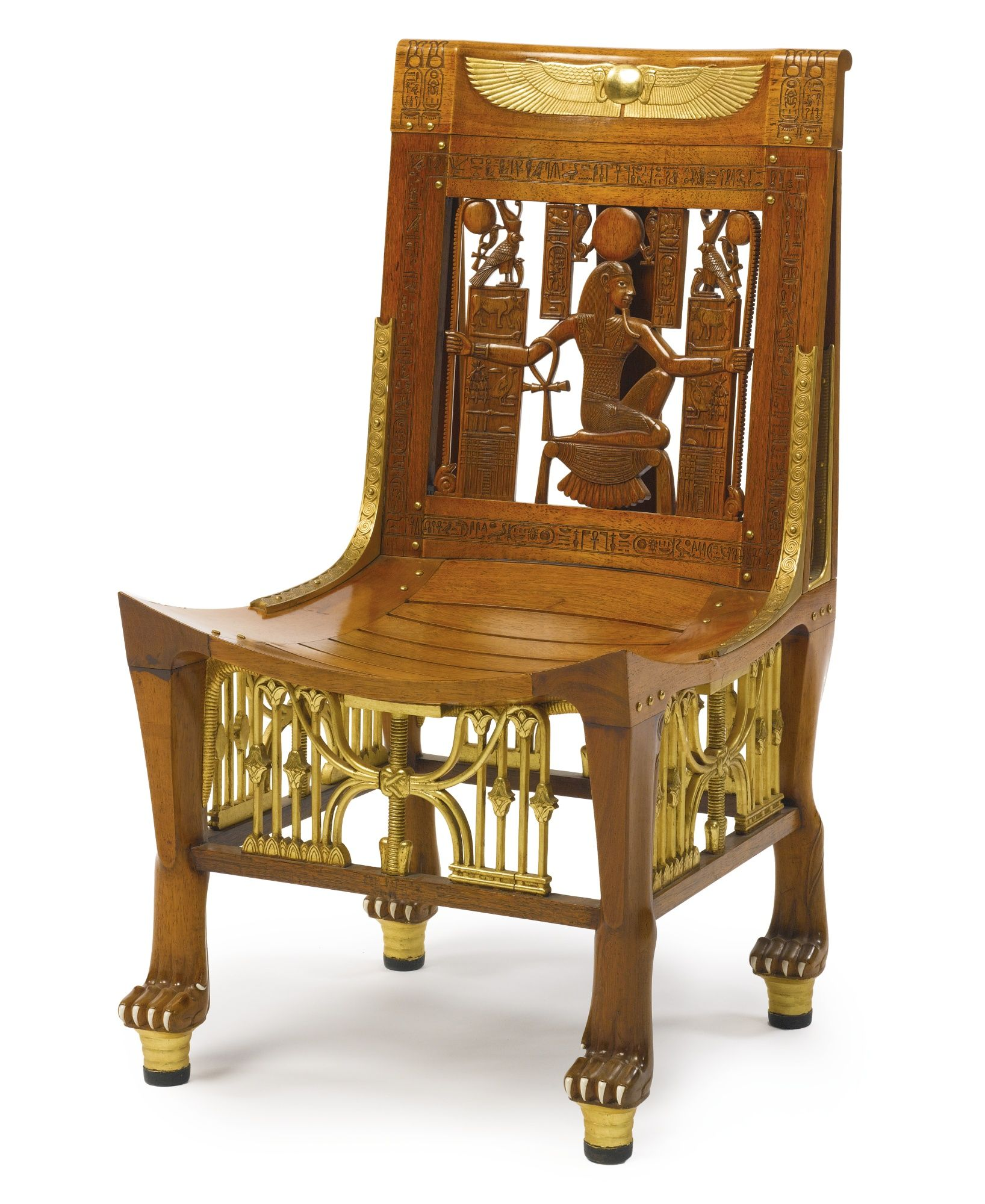 An Egyptomania Gilt Metal And Ivory Mounted Carved And Parcel Gilt Wooden Side Chair Cairo Circa 1925 Muebles Clasicos Egipto Muebles