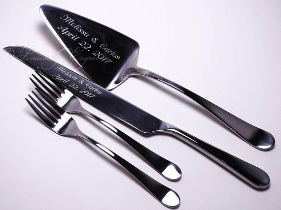 ENGRAVED WEDDING CAKE Server And Or Knife Fork Set