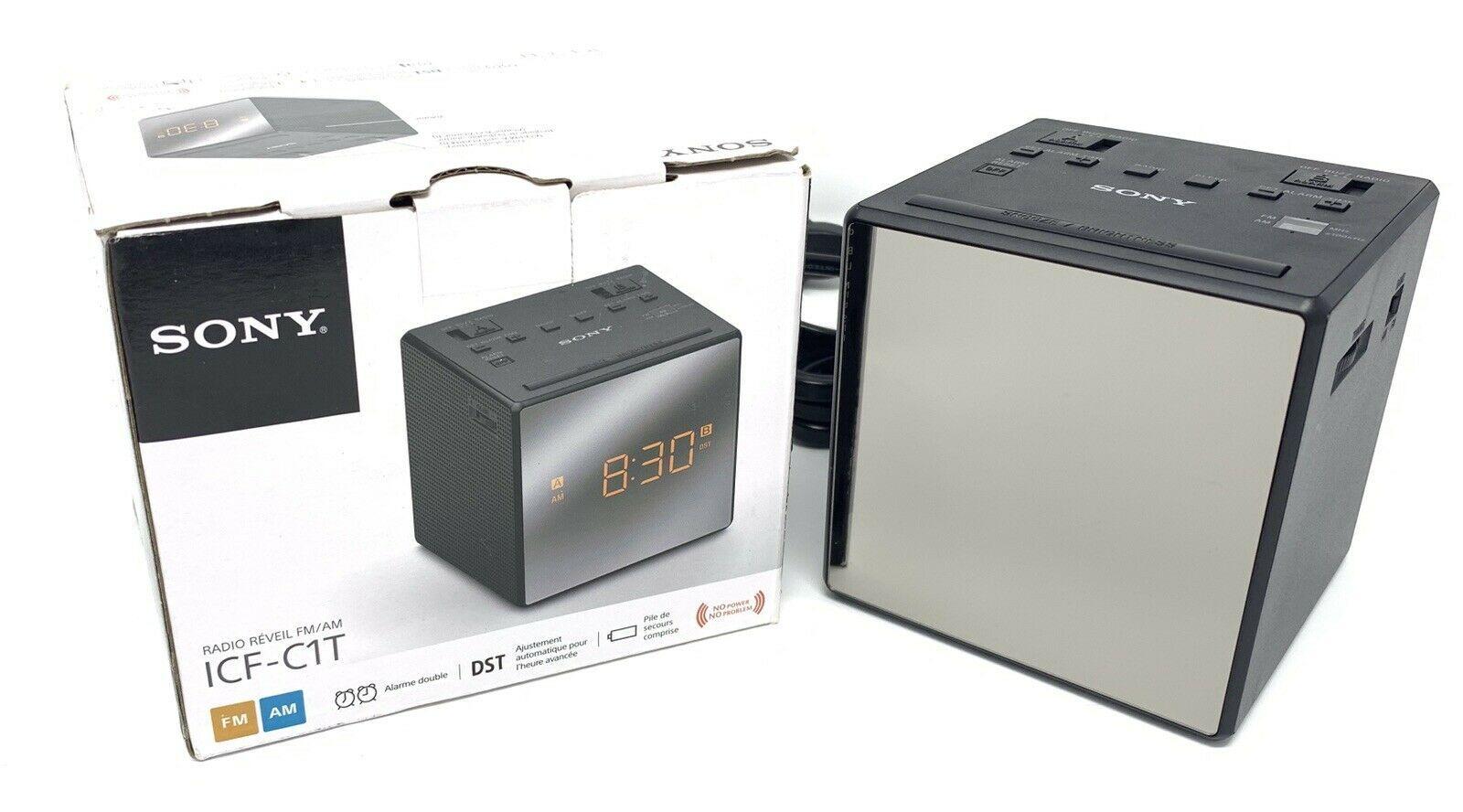 Sony ICF-C1T FM//AM Clock Radio-Black Battery Backup Dual Alarm New!