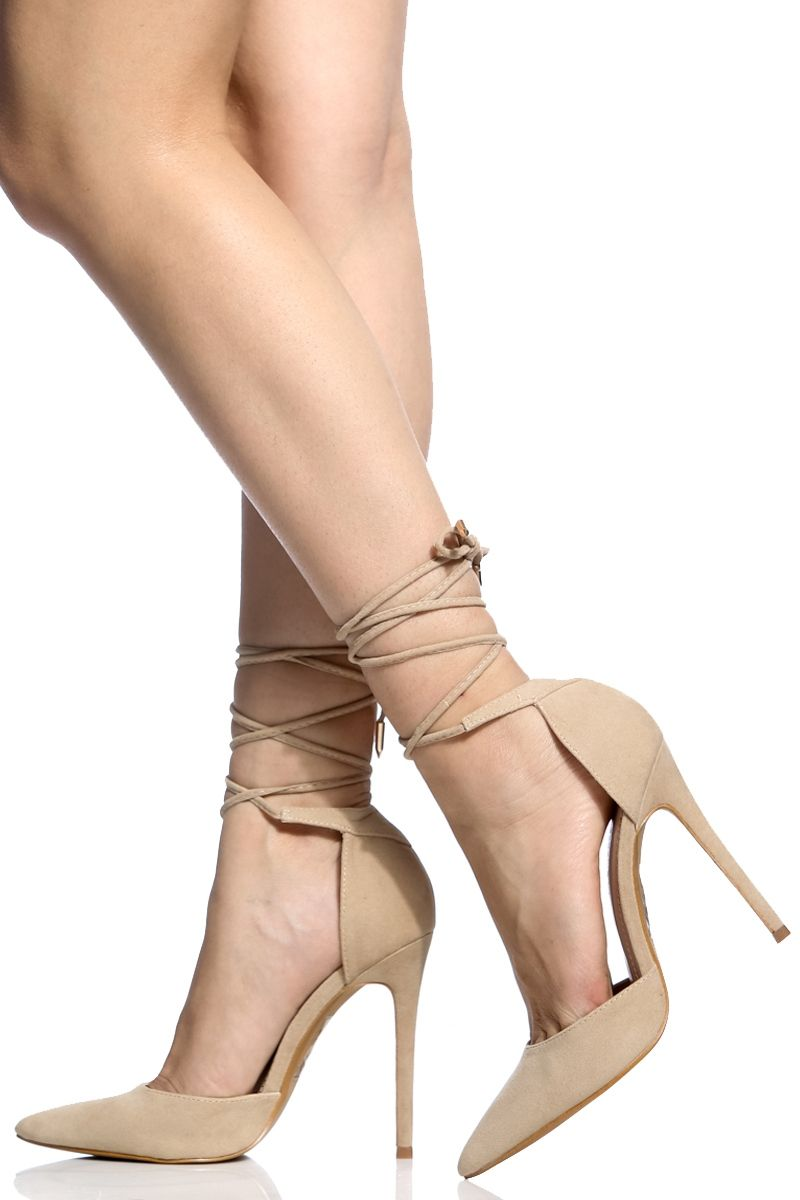 Nude Faux Suede Wrap Around Pointed Toe Heels  Cicihot -9279