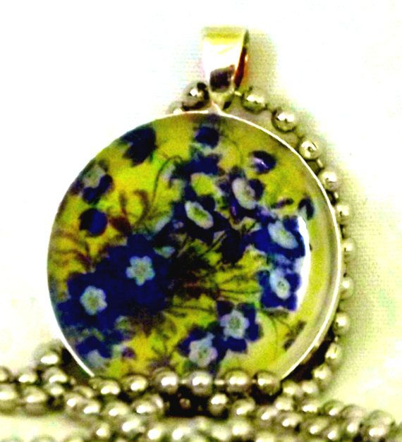 Yellow and blue floral resin pendant necklace by Pendantmonium, $6.00