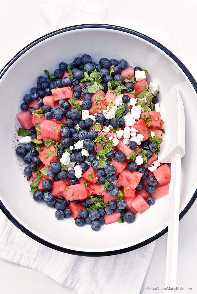 Blueberry Watermelon Feta Mint Salad by shewearsmanyhats #Salad #Watermelon #Blueberry #Feta #Healthy